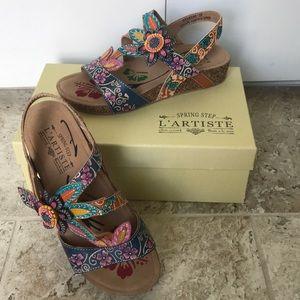 Spring Step L'artiste multi color leather sandals